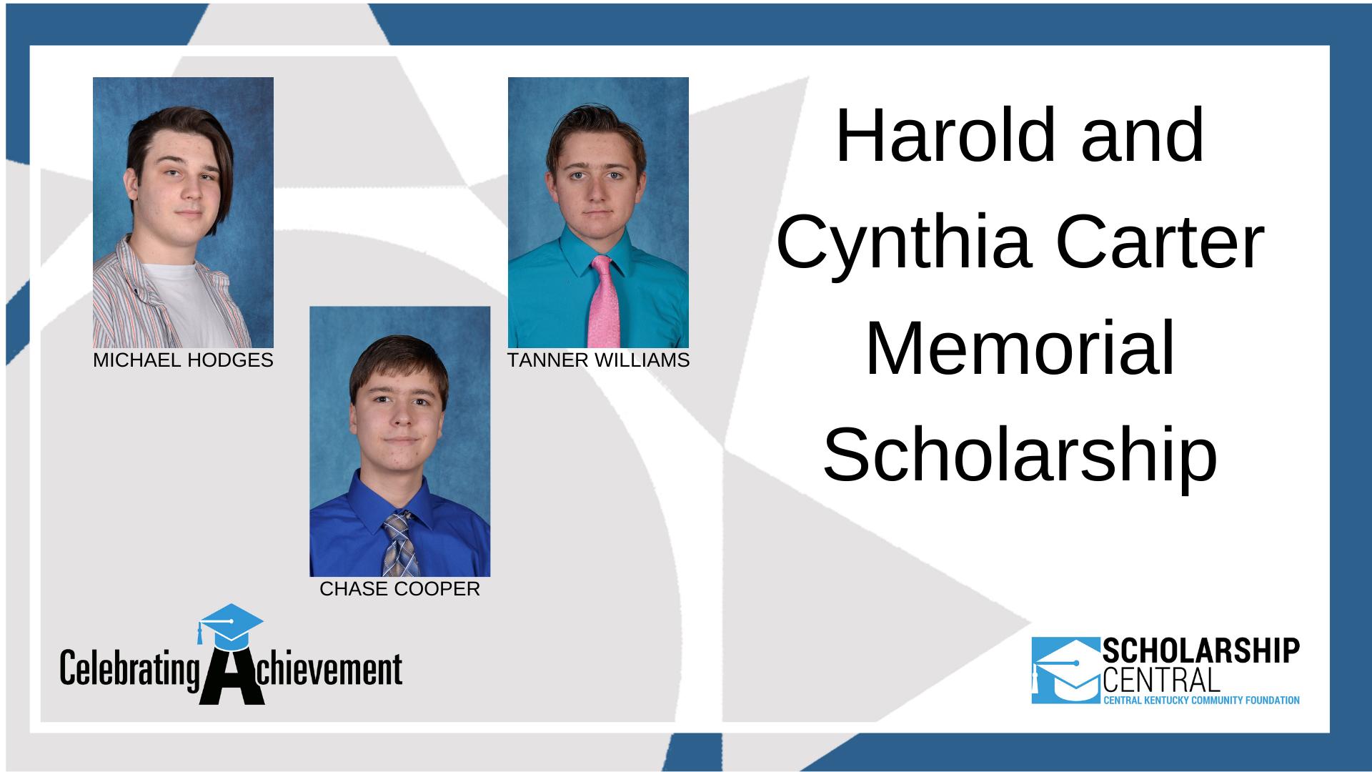 Harold and Cynthia Carter Memorial Scholarship Winners 2