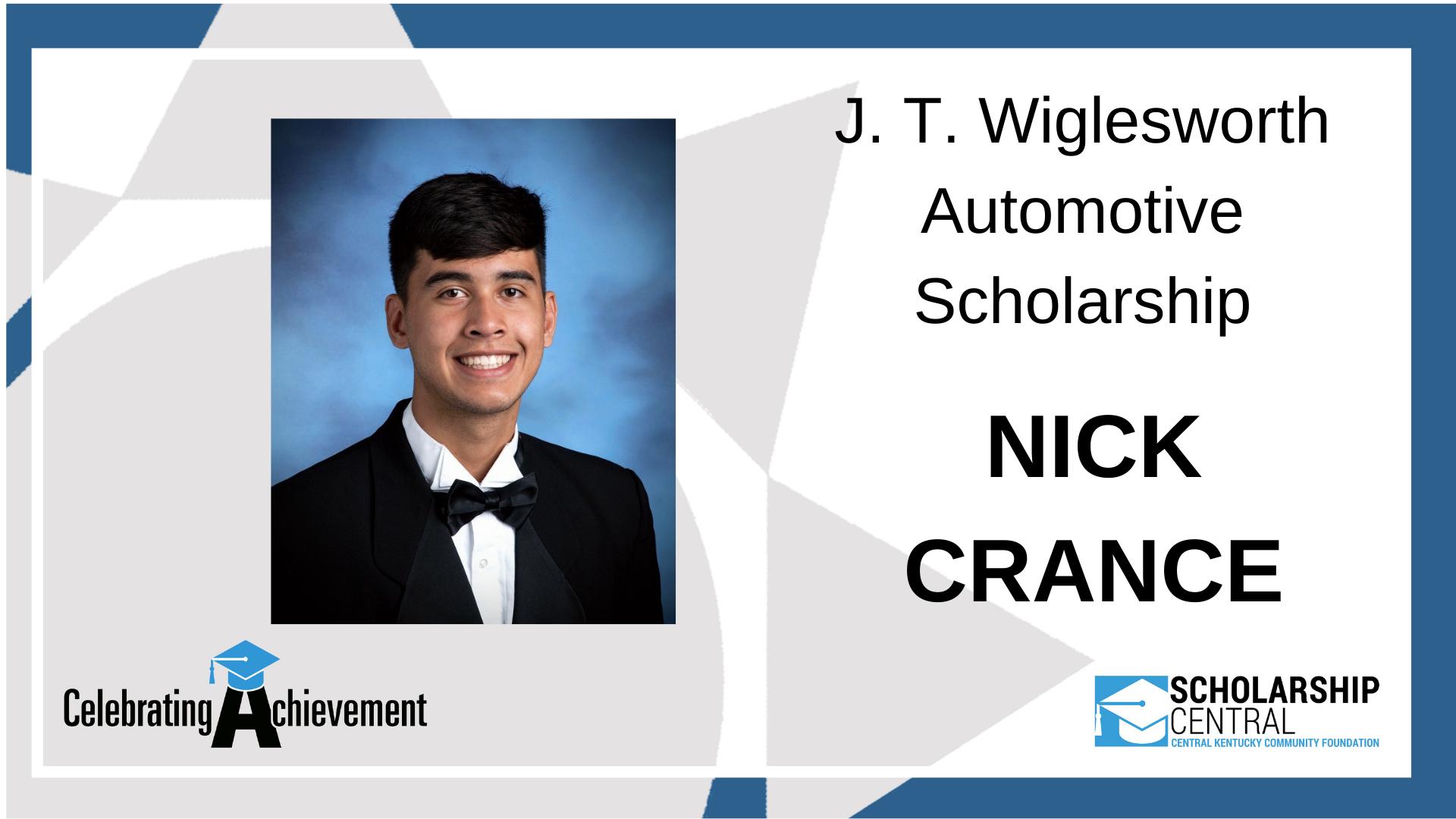 JT Wiglesworth Automotive Scholarship Winner