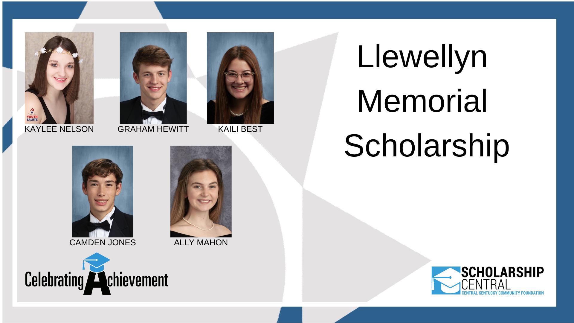 Llewellyn Memorial Scholarship Winners 2
